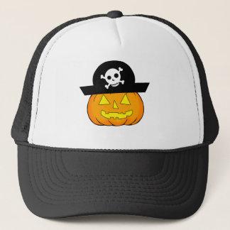pirate pumpkin trucker hat