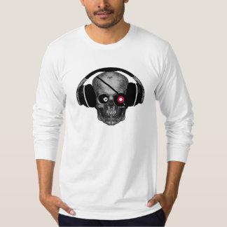 Pirate Radio Skull DJ with Vinyl Eye Patch T-Shirt