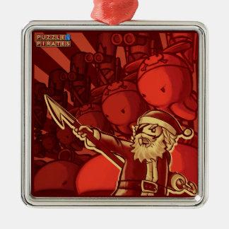 Pirate Santa Tree Trinket Silver-Colored Square Ornament