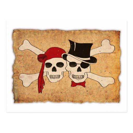 pirate scroll postcard