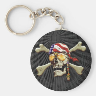 Pirate Scull Basic Round Button Keychain