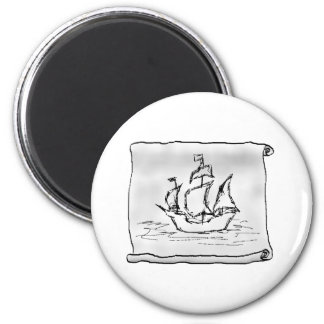 Pirate Ship. 2 Inch Round Magnet