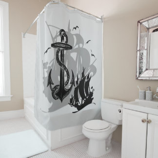 Pirate Ship & Anchor Black Silhouette Curtain 4