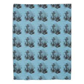 Pirate Ship & Anchor Black Silhouette Duvet Cover