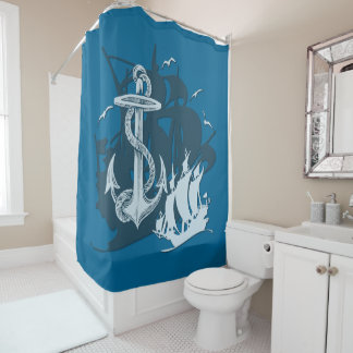 Pirate Ship & Anchor White Silhouette Curtain