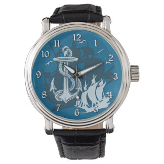 Pirate Ship & Anchor White Silhouette Watch