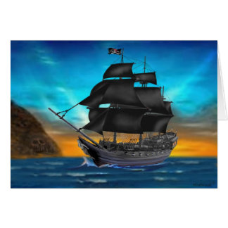 PIRATE SHIP AT SUNSET CARD