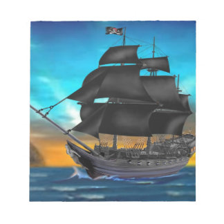 PIRATE SHIP AT SUNSET NOTEPAD