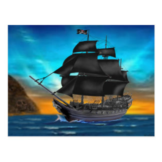 PIRATE SHIP AT SUNSET POSTCARD