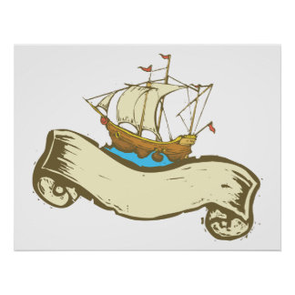 Pirate Ship Banner Poster