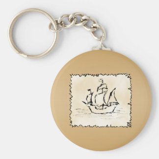 Pirate Ship. Basic Round Button Keychain