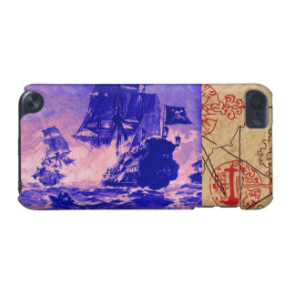 PIRATE SHIP BATTLE / ANTIQUE PIRATES TREASURE MAPS iPod TOUCH (5TH GENERATION) CASE