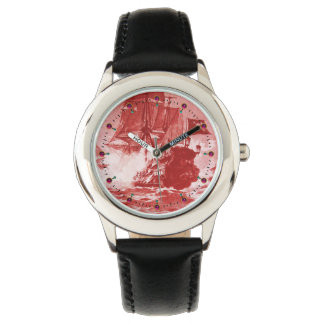 PIRATE SHIP BATTLE Antique Red White Nautical Watch