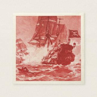 PIRATE SHIP BATTLE IN purple Paper Napkin