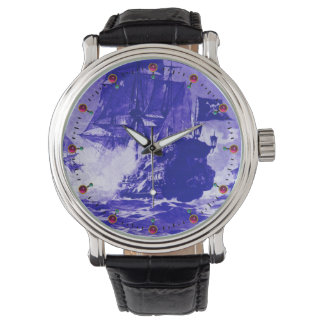 PIRATE SHIP BATTLE Navy Blue Nautical Watch