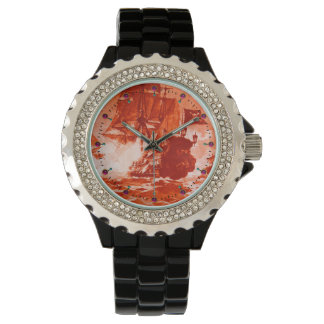 PIRATE SHIP BATTLE Red Nautical Watch