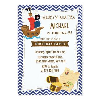 Pirate Ship Birthday Invitation Blue
