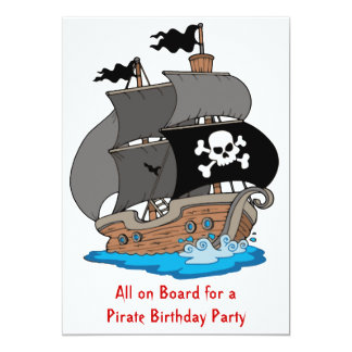 Pirate Ship Birthday Party Card