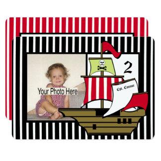 Pirate Ship Birthday Photo Card