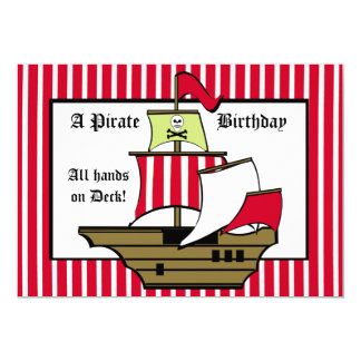 Pirate Ship Birthday Voyage Red Stripe Card