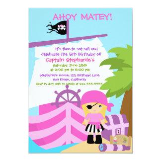 Pirate Ship Blonde Girl Birthday Party Invitation