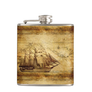 pirate ship explorer's flask