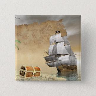 Pirate ship finding treasure - 3D render 2 Inch Square Button