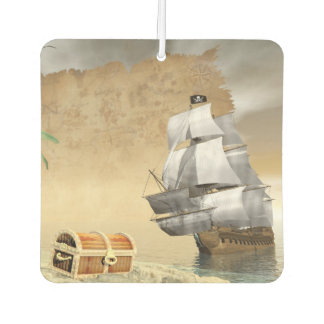 Pirate ship finding treasure - 3D render Air Freshener