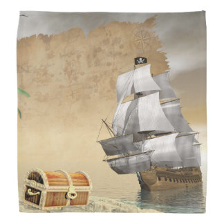 Pirate ship finding treasure - 3D render Bandana