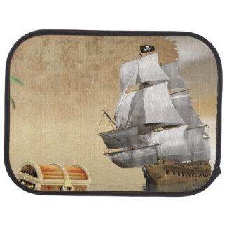 Pirate ship finding treasure - 3D render Car Mat