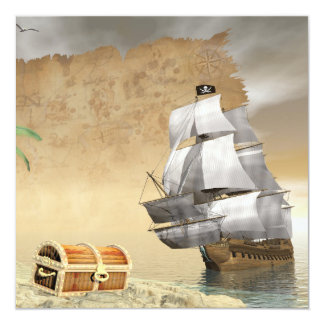 Pirate ship finding treasure - 3D render Card