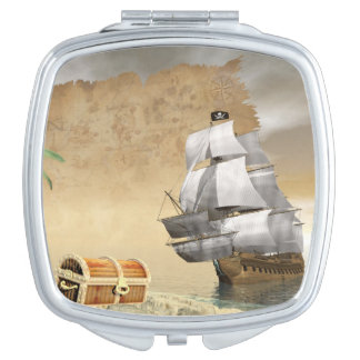 Pirate ship finding treasure - 3D render Compact Mirror