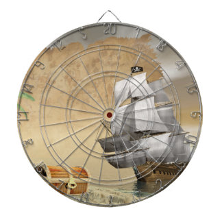 Pirate ship finding treasure - 3D render Dartboard