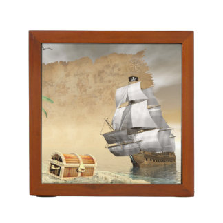 Pirate ship finding treasure - 3D render Desk Organizer