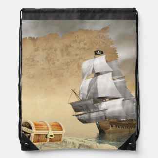 Pirate ship finding treasure - 3D render Drawstring Bag
