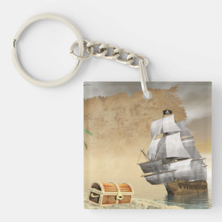 Pirate ship finding treasure - 3D render Keychain