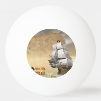 Pirate ship finding treasure - 3D render Ping Pong Ball