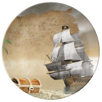 Pirate ship finding treasure - 3D render Plate