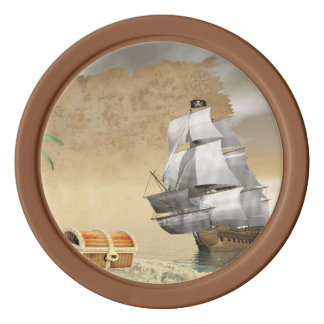Pirate ship finding treasure - 3D render Poker Chips