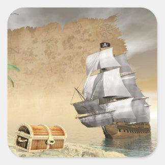 Pirate ship finding treasure - 3D render Square Sticker