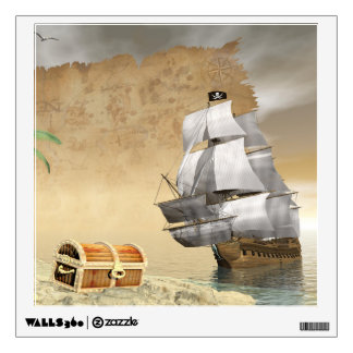 Pirate ship finding treasure - 3D render Wall Sticker