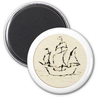 Pirate Ship Galleon. Old ship in cream and black. 2 Inch Round Magnet