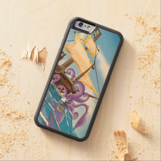 Pirate Ship Giant Kraken attack cartoon Carved Maple iPhone 6 Bumper Case