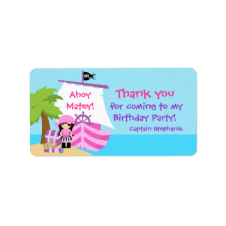 Pirate Ship Girl Birthday Favor Tag Label