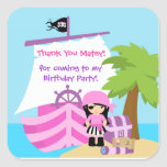 Pirate Ship Girl Birthday Thank You Sticker