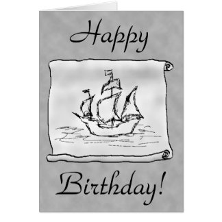 Pirate Ship. Gray Scroll. Birthday Card. Custom Card