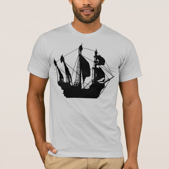 Pirate Ship grey semi fitted mens tshirt