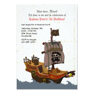 Pirate Ship Grunge Birthday Party Invitation