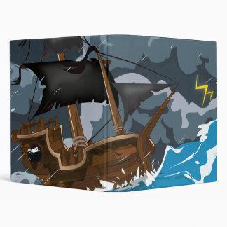 Pirate Ship in Storm 3 Ring Binder