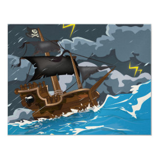 Pirate Ship in Storm Card